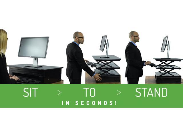 Electric CHANGEdesk   Tall Affordable Adjustable Height Standing Desk  Conversion With Ergonomic, Negative Tilt