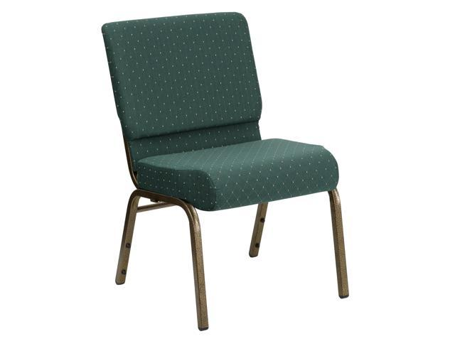 Flash Furniture HERCULES Series 21'' Extra Wide Hunter Green Dot Patterned Stacking Church Chair with 4'' Thick Seat - Gold Vein Frame [FD-CH0221-4-GV-S0808-GG]