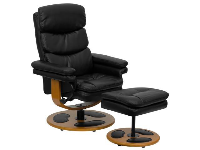 Contemporary Black Leather Recliner and Ottoman with Wood Base By Flash Furniture