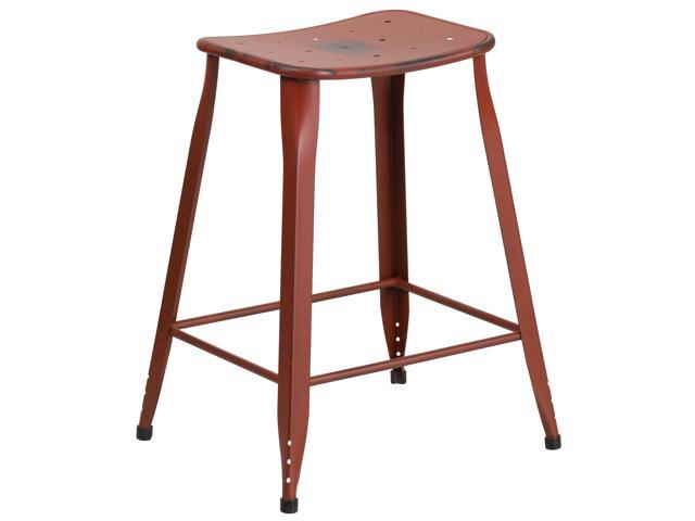 24'' High Distressed Kelly Red Metal Indoor-Outdoor Counter Height Stool