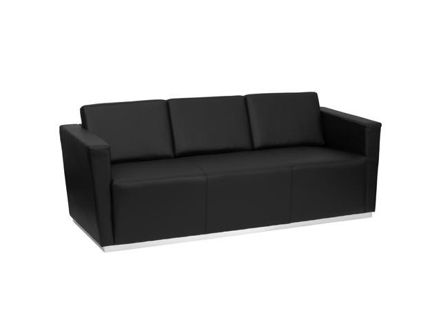Trinity Series Black Leather Sofa with Stainless Steel Base by Flash Furniture