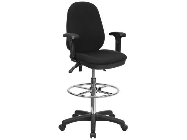 Flash Furniture Ergonomic Multi-Functional Triple Paddle Drafting Stool with Adjustable Foot Ring and Arms [KC-B802M1KG-ARMS-GG]