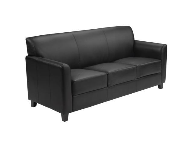 Flash Furniture Hercules Diplomat Series Black Leather Sofa / Resting Bed [BT-827-3-BK-GG]