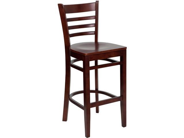 Flash Furniture HERCULES Series Mahogany Finished Ladder Back Wooden Restaurant Bar Stool [XU-DGW0005BARLAD-MAH-GG]
