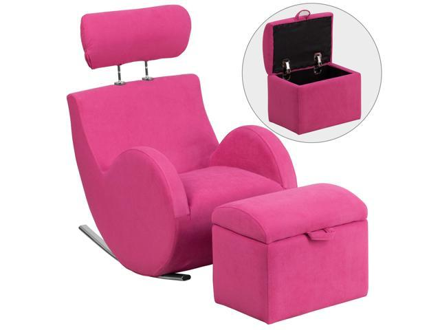 HERCULES Series Pink Fabric Rocking Chair with Storage Ottoman [LD-2025-PK-GG]