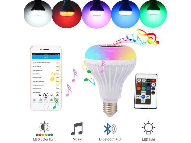RANPO Bluetooth LED RGB Bulb Wireless Light Speaker 12W Smart Music Play  Lamp + Remote