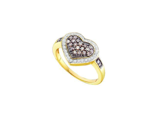 0.51ctw Cognac Diamond Ladies Heart  Ring