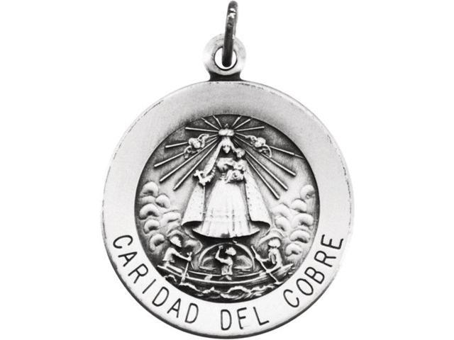 Sterling Silver 18mm Round Caridad del Cobre Medal with 18