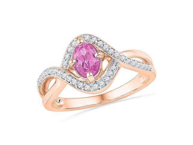 0.18ctw Diamond 0.36ctw Lab Created Pink Sapphire Ring