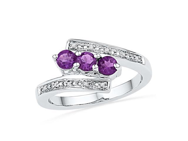 0.04ctw Diamond 0.48ctw Amethyst Ring