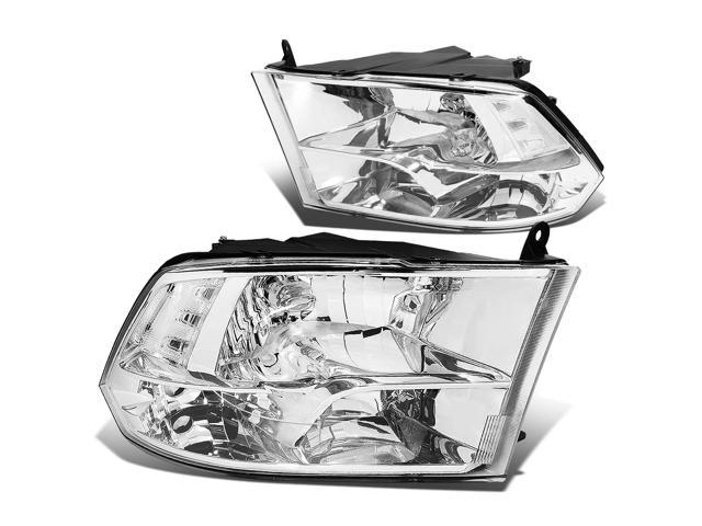 For 09-17 Dodge Ram Pair of Chrome Housing Clear Reflector Quad Headlight Lamp - 4th Gen DS/DJ/D2 10 11 12 13 14 15 16