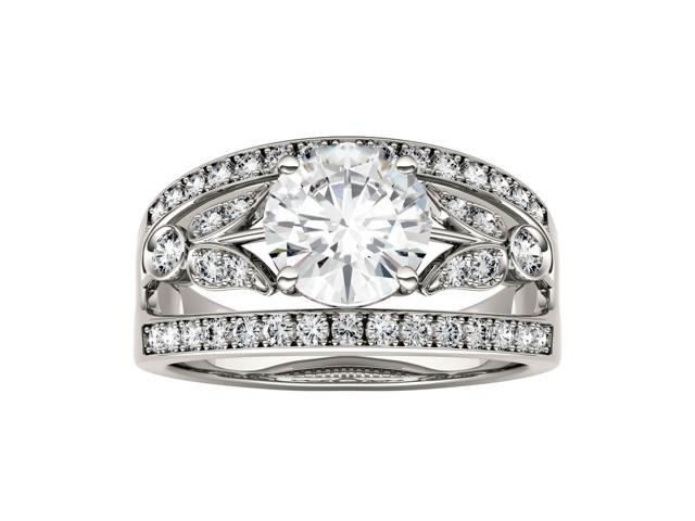 Forever Brilliant Round 7.5mm Moissanite Ring-size 8, 1.91cttw DEW