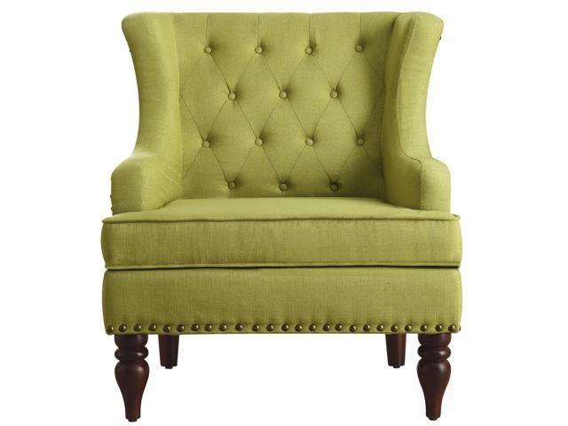 Jewel Tufted Wingback Club Chair, Pear Green
