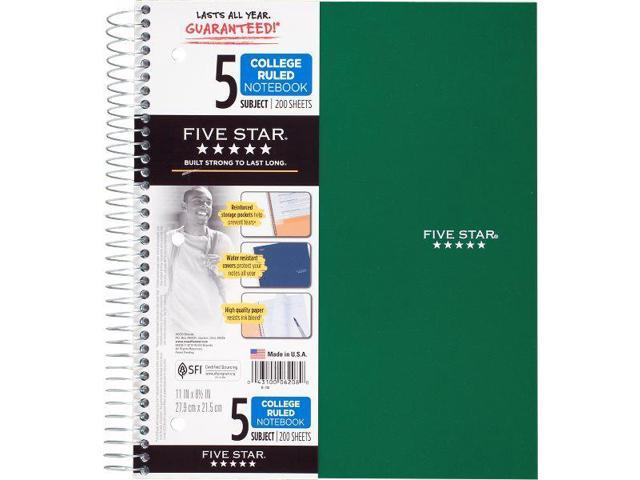 Five Star Wirebound College Ruled Notebook 5 Subject - Five Star Notebooks
