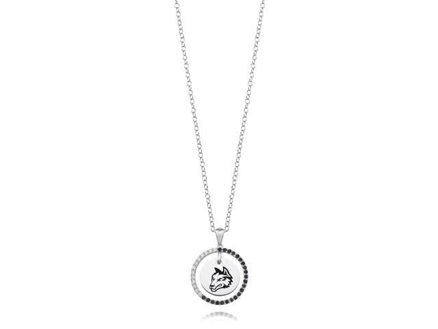 Wright State Raiders Black and White CZ Circle Necklace