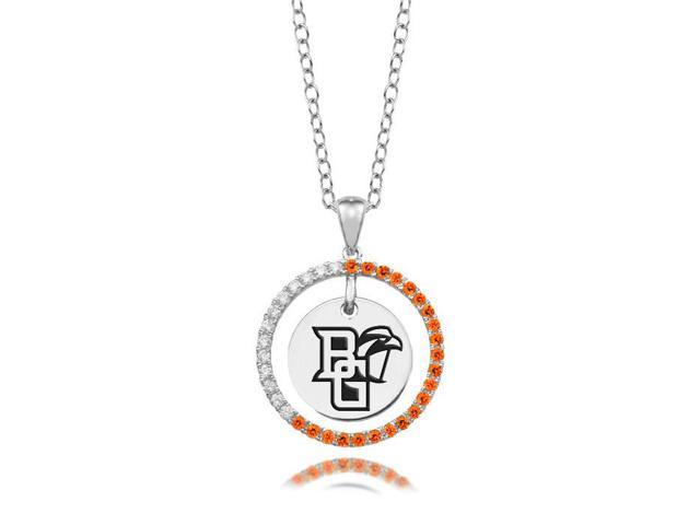 Bowling Green Falcons Orange CZ Circle Necklace in Sterling Silver