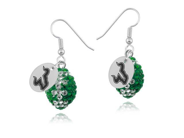 South Florida Bulls Crystal Football Earrings