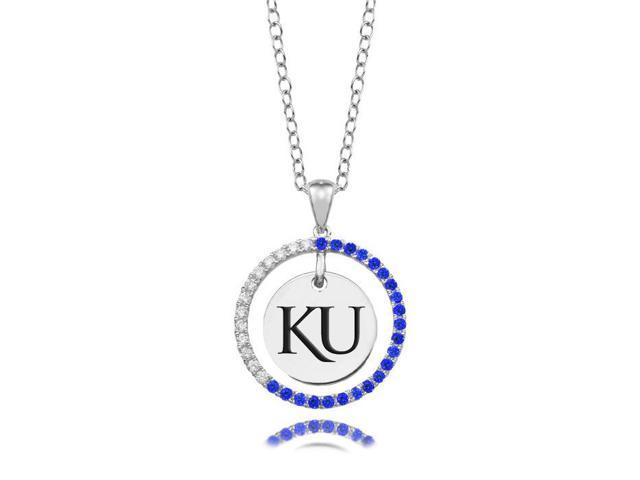 Kansas Jayhawks Blue CZ Circle Necklace in Sterling Silver