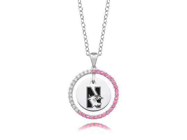Northwestern Wildcats Pink CZ Necklace