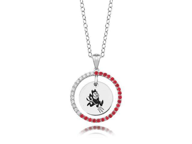 Arizona State Sun Devils Red CZ Circle Necklace in Sterling Silver