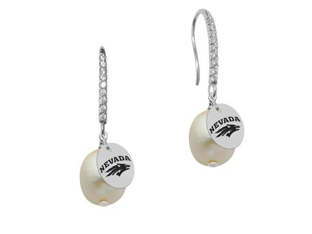 Nevada Wolf Pack Pearl and CZ Drop Earring