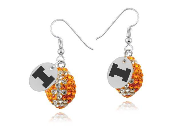 Illinois Fighting Illini Crystal Football Earrings
