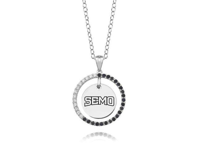 Southeast Missouri Redhawks Black and White CZ Circle Necklace