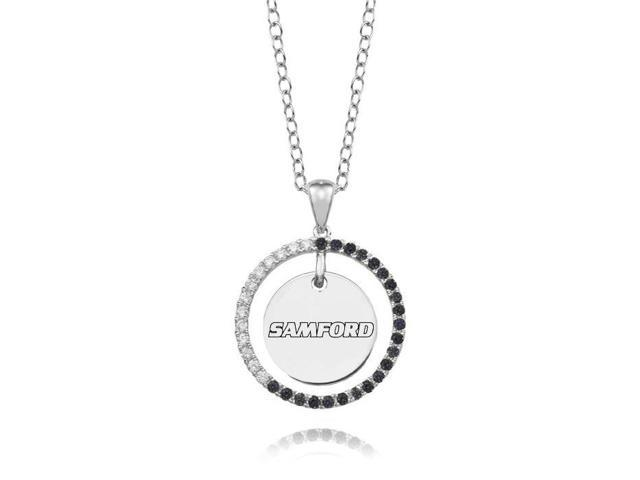 Samford Bulldogs Black and White CZ Circle Necklace