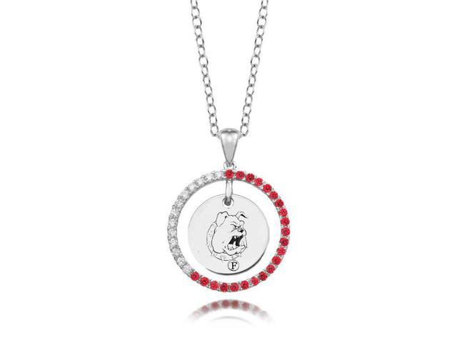 Ferris State Bulldogs Red CZ Circle Necklace in Sterling Silver