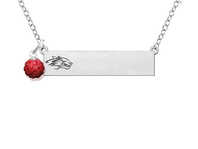 New Mexico Lobos Bar Necklace with Crystal Ball Accent