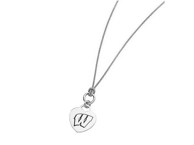 Wisconsin Badgers Heart Necklace