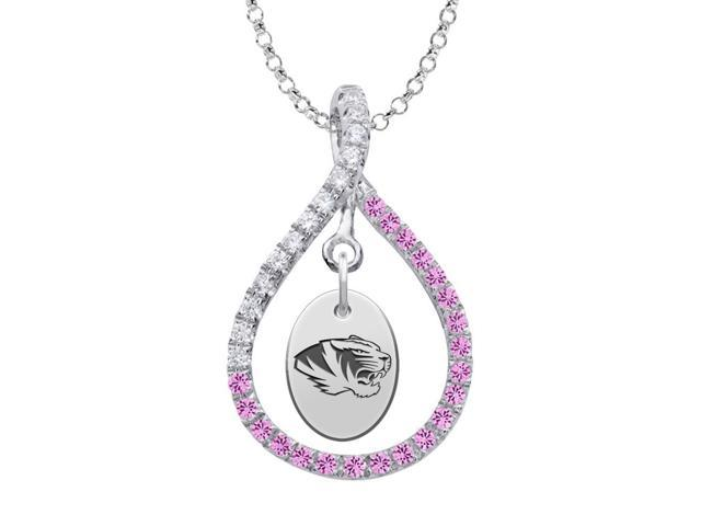 Missouri Tigers Pink CZ Figure 8 Necklace