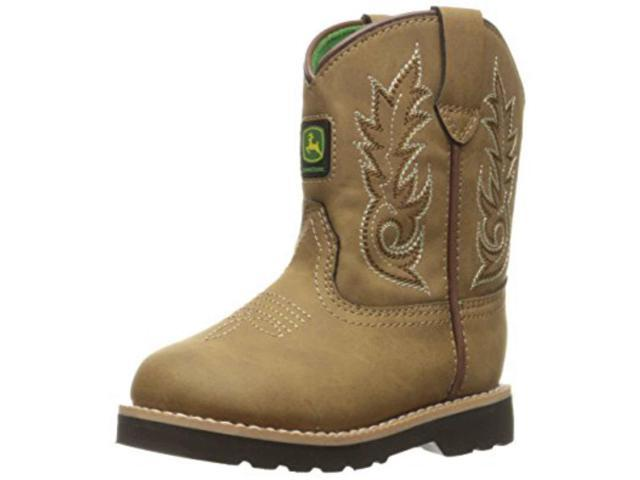 John Deere Western Boot Boy Kids Round Toe Leather 6 Infant Tan JD1031
