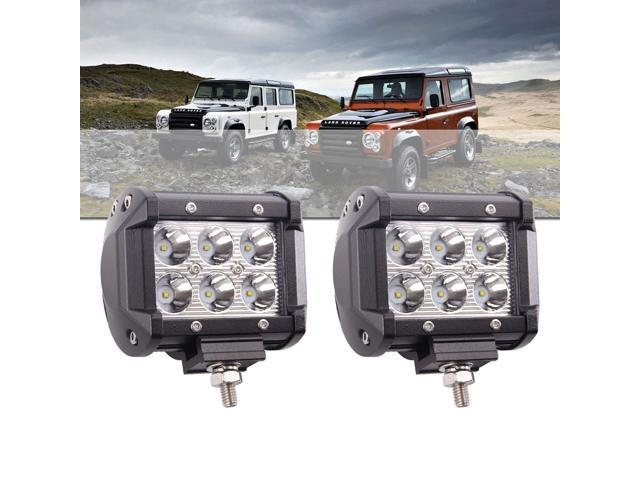 LotFancy Waterproof Driving Lights - 18W Spot Cree LED Work Light Bar with Mounting Bracket for Off Road Truck Jeep UTV ATV Cars Marine Boat (2 PCS, 4