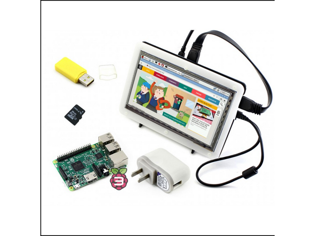 New Arrival Raspberry Pi 3 Model B+ 7inch HDMI LCD+Bicolor case+8GB Micro SD card+ Power Adapter=RPi3 B Package F