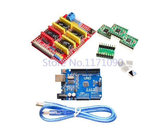 ! cnc shield v3 engraving machine 3D Printer+ 4pcs A4988 driver expansion board forArduino + UNO R3 with USB cable