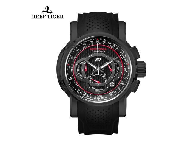 Reef Tiger Sport Chronograph Quartz Black Steel Mens Watches RGA3063