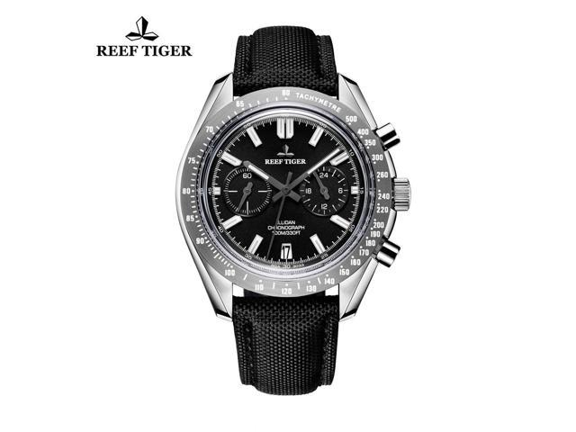 Reef Tiger Sport Chronograph Nylon Strap 316L Steel Luminous Watch with Date RGA3033