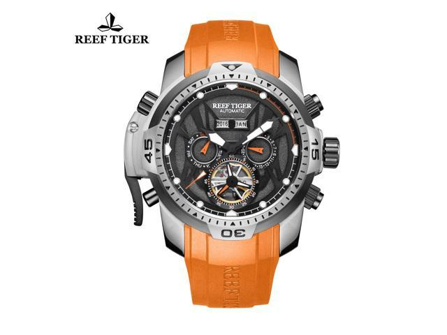 Reef Tiger Mens Sport Steel Orange Hands Luminous Automatic Watches RGA3532