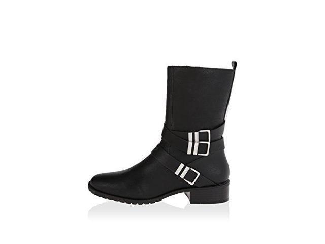 Calvin Klein Rochelle Leather Mid Calf Moto Boots, Black, Size 5.0