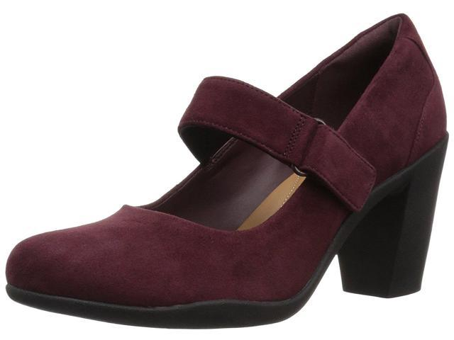 CLARKS Womens adya clara Suede Closed Toe Mary Jane Pumps Burgundy Size 6.0