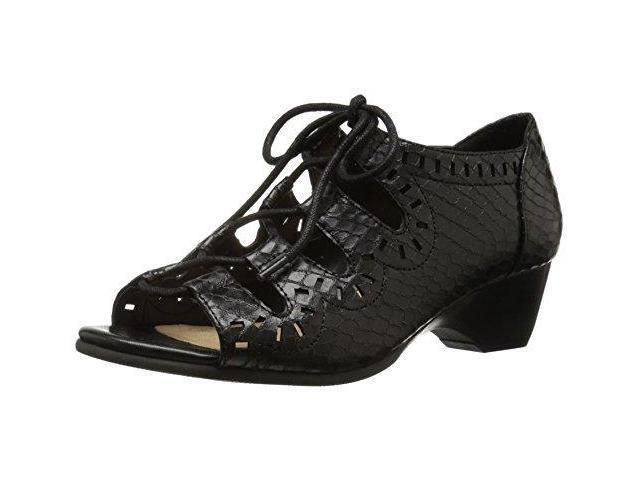 Bella Vita Womens Prescot Ii Wedge Sandal Black Snake Size 65