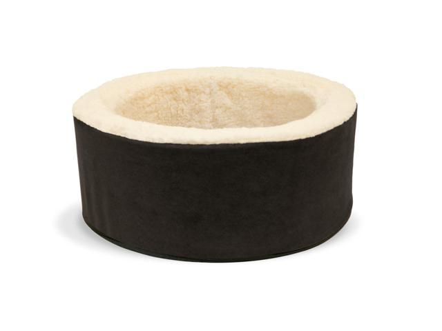 Precious Tails Kitty Cup Round Pet Bed Cuddler with Micro Suede Cover, Ivory Fur Interior and Reversible Pillow, Black