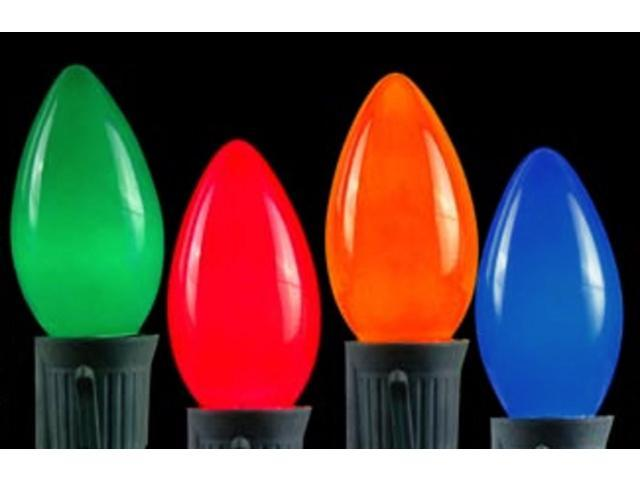 Pack of 4 Opaque Ceramic Multi C7 Christmas Replacement Bulbs
