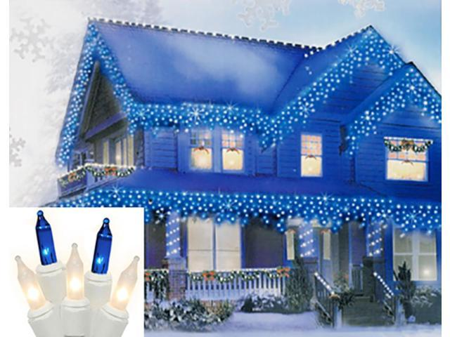 Set of 100 Blue and Frosted Clear Mini Icicle Christmas Lights - White Wire