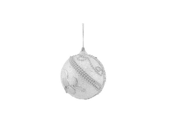 3ct White and Silver Beaded and Glittered Shatterproof Christmas Ball Ornaments 3