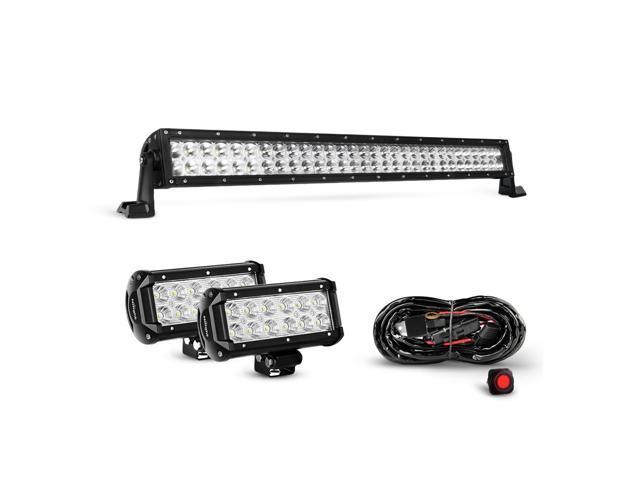 nilight 32 inch 180w spot flood combo led light bar 2pcs 6 5 inch 36w flood led fog lights with