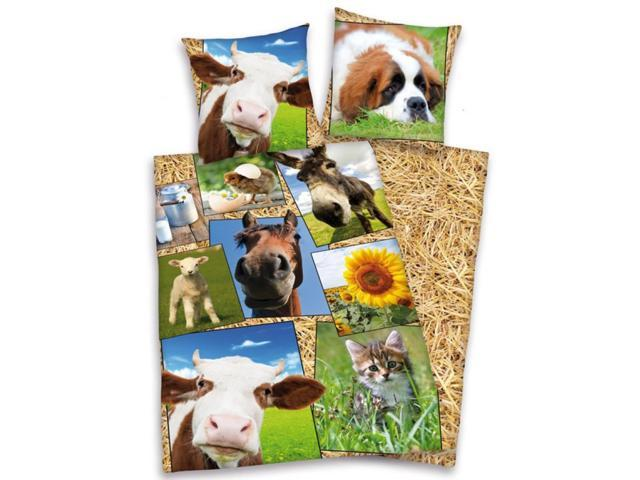 Farmyard Animals 2 Piece UK Single/US Twin Sheet Set – 1 x Double Sided Sheet & 1 x Pillowcase