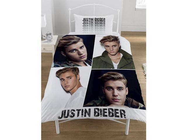 Justin Bieber Montage 2 Piece UK Single/US Twin Sheet Set – 1 x Double Sided Sheet & 1 x Pillowcase