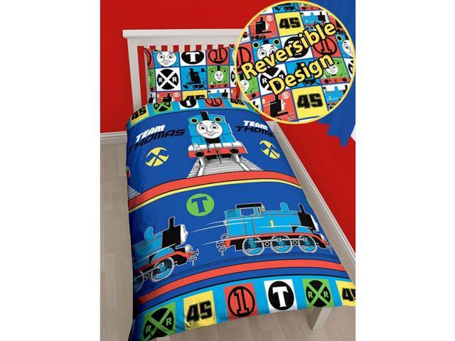 Thomas the Tank Engine Team 2 Piece UK Single/US Twin Sheet Set – 1 x Double Sided Sheet & 1 x Pillowcase  - Rotary Design